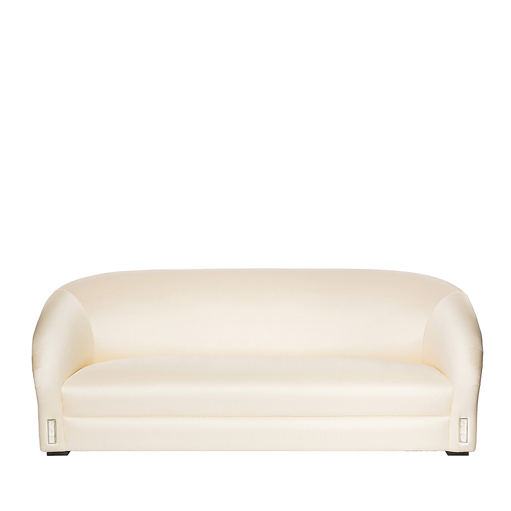 Raisins classic sofa | Numbered edition, clear crystal and ivory silk, large size | Sofa Lalique
