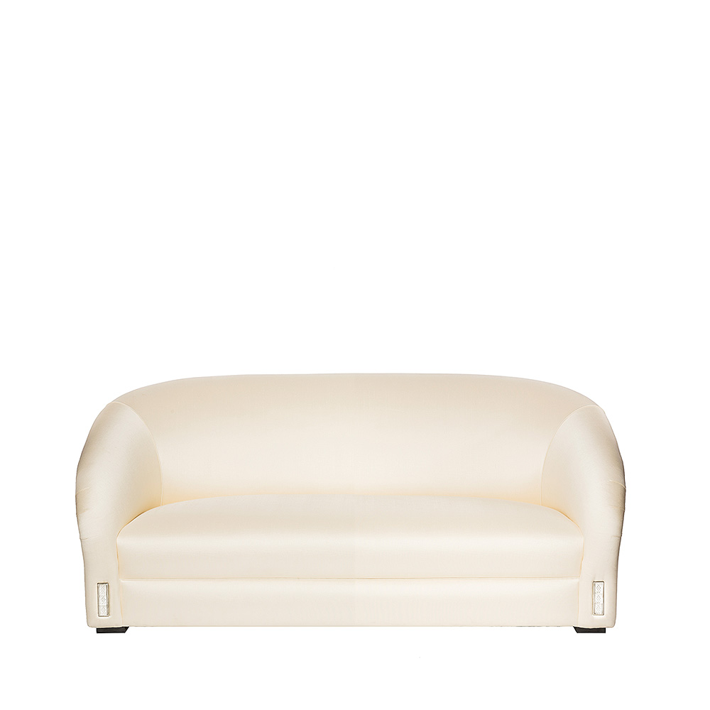 Raisins classic sofa | Numbered edition, clear crystal and ivory silk, medium size | Sofa Lalique