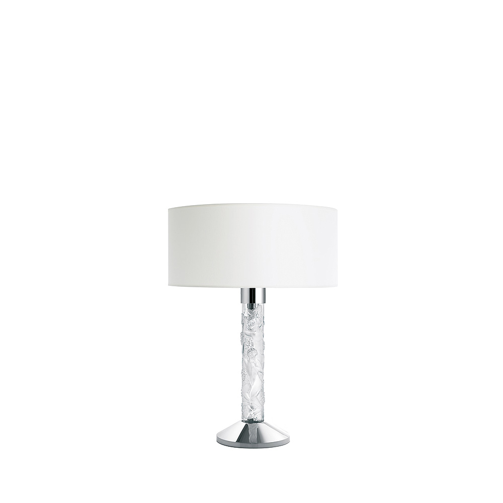 Faunes lamp | Clear crystal, chrome finish | Interior Design Lalique