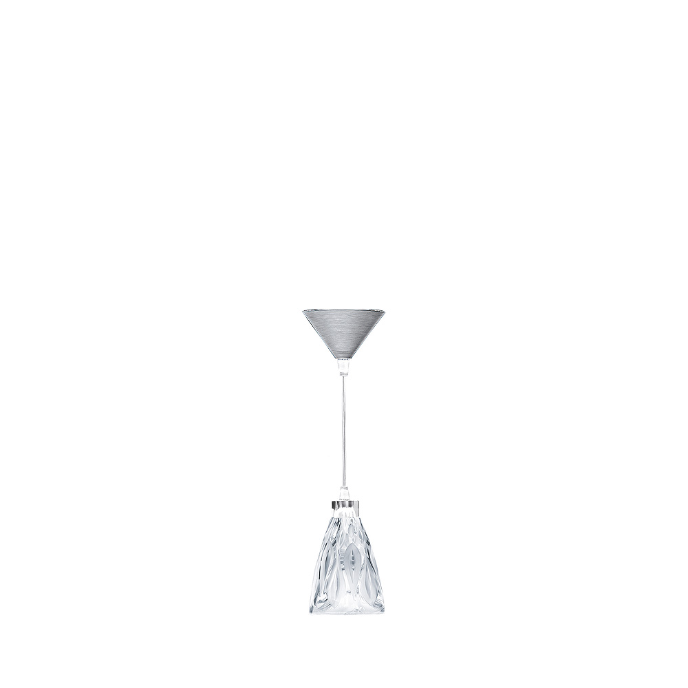Vibration ceiling lamp | Clear crystal, chrome finish | Interior Design Lalique