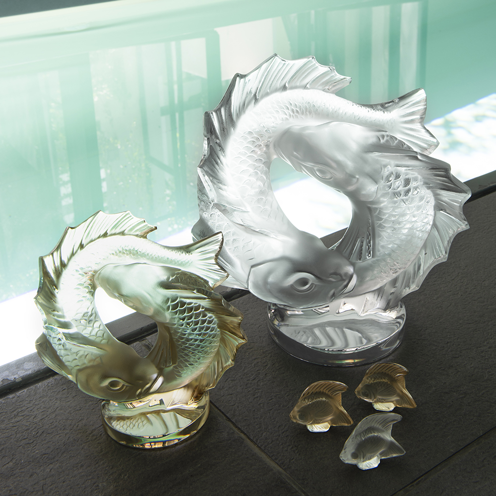 Double Fish sculpture | Clear crystal| Sculpture Lalique