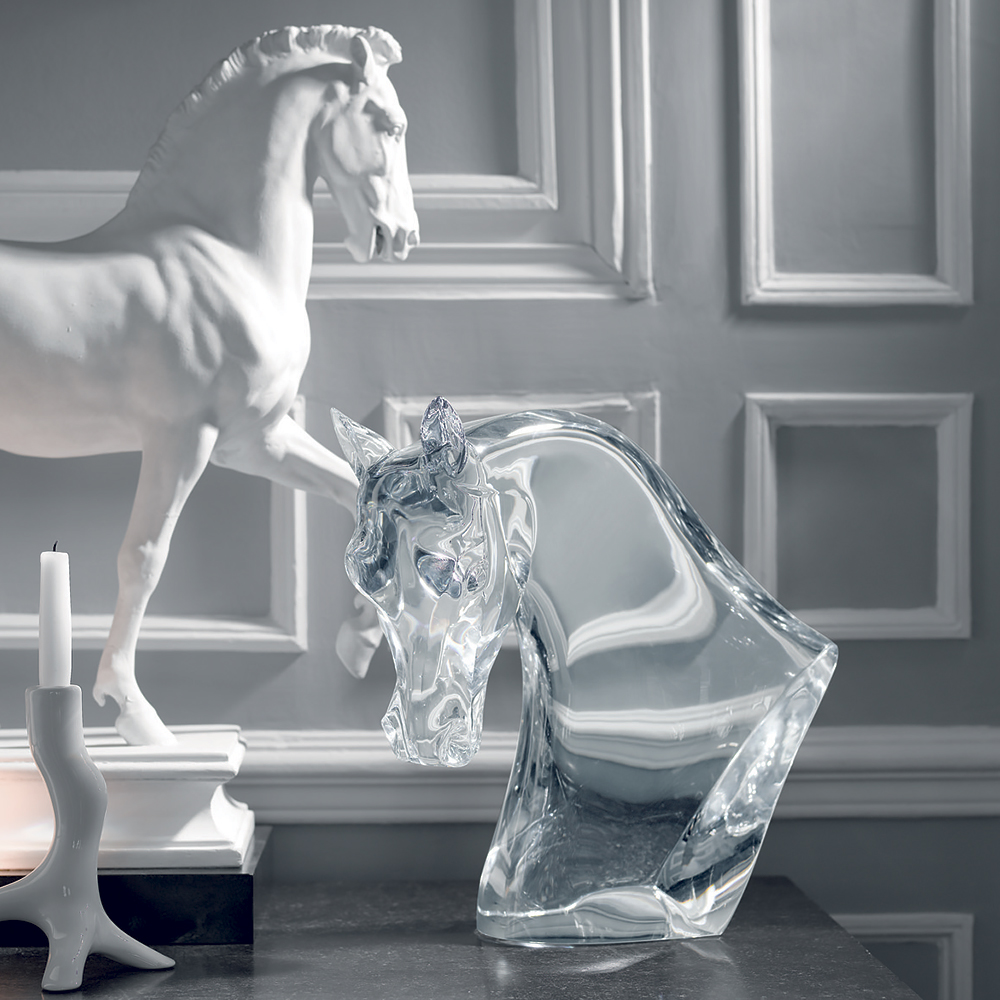 Horse's Head sculpture | Clear crystal | Sculpture Lalique