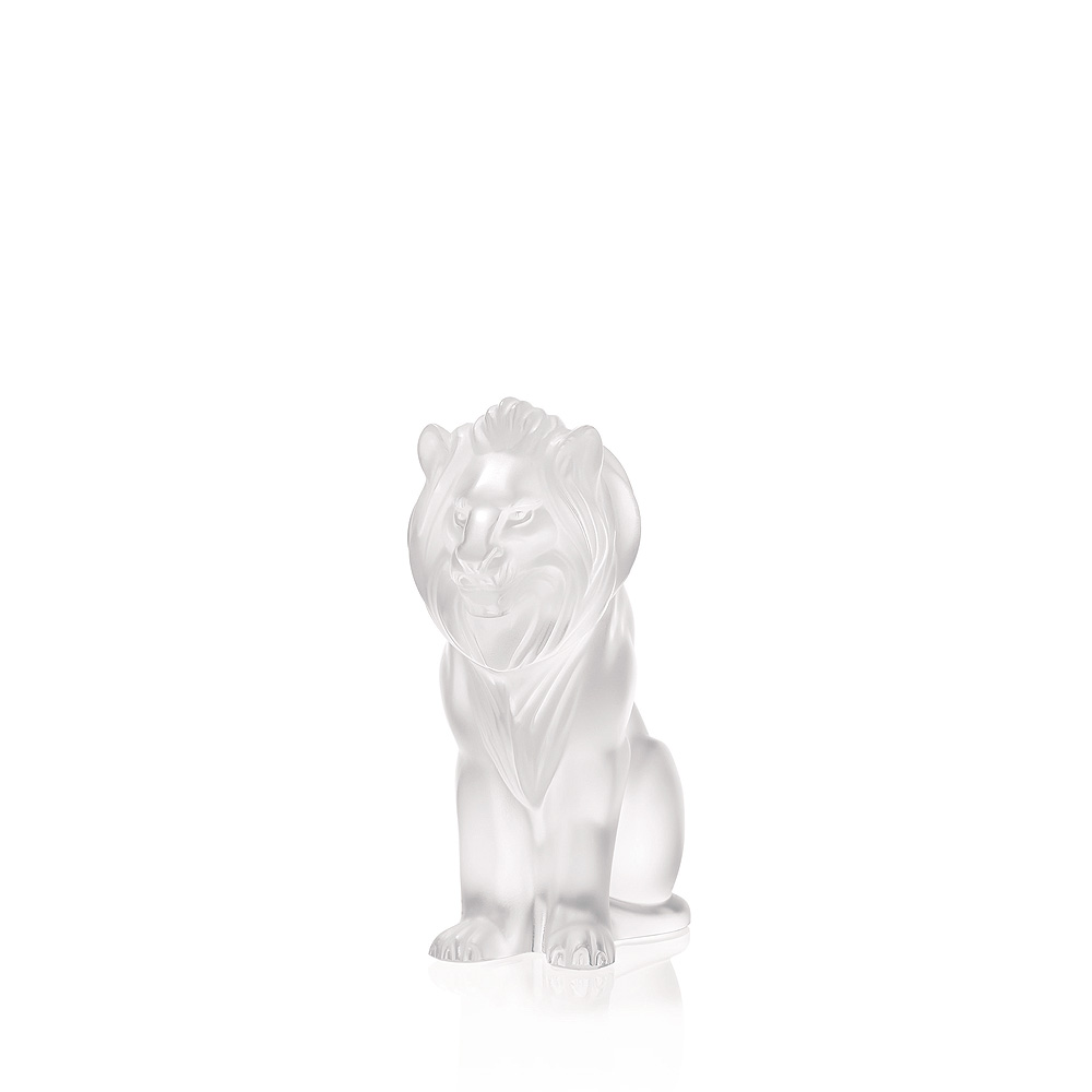 Bamara Lion sculpture | Clear crystal | Sculpture Lalique