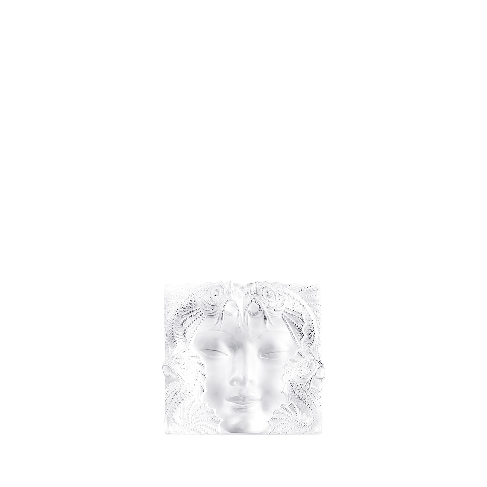 Masque de Femme decorative panel | Clear crystal, framed, large size | Interior Design Lalique