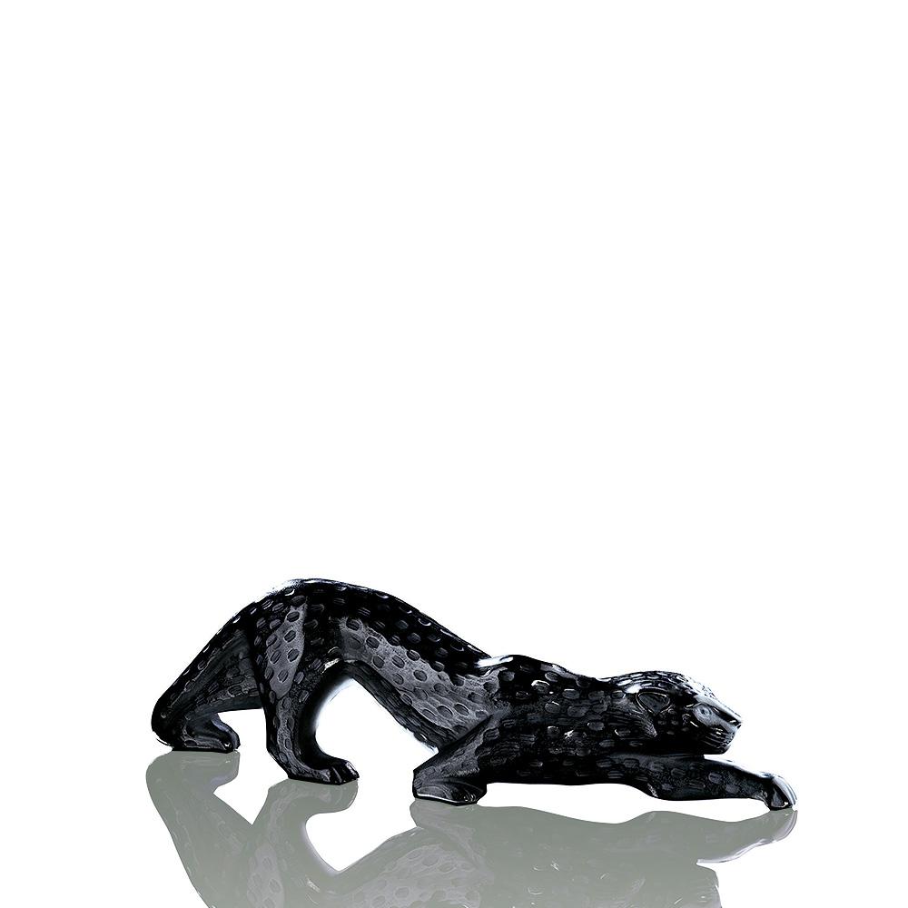 Zeila Panther sculpture | Black crystal, large size | Sculpture Lalique