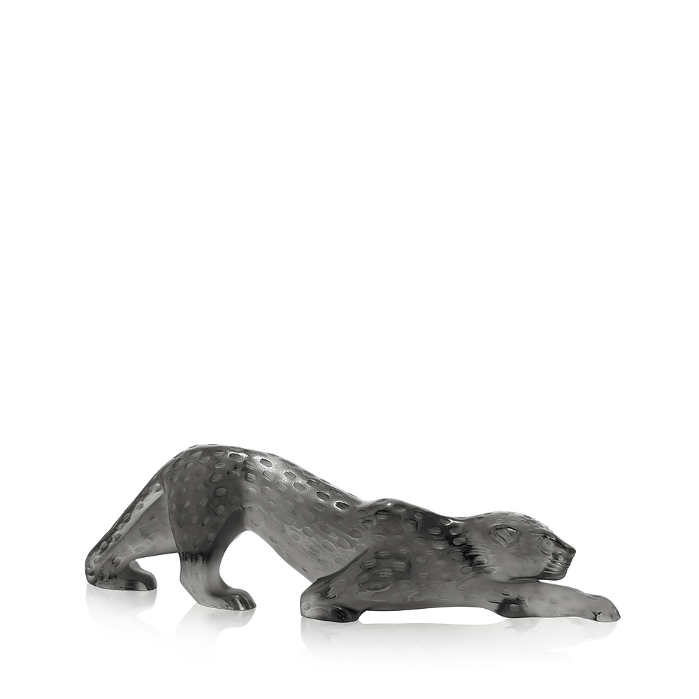 Zeila Panther sculpture | Grey crystal, large size | Sculpture Lalique