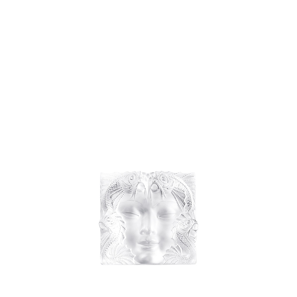 Masque de Femme decorative panel | Clear crystal, framed & lighted | Interior Design Lalique