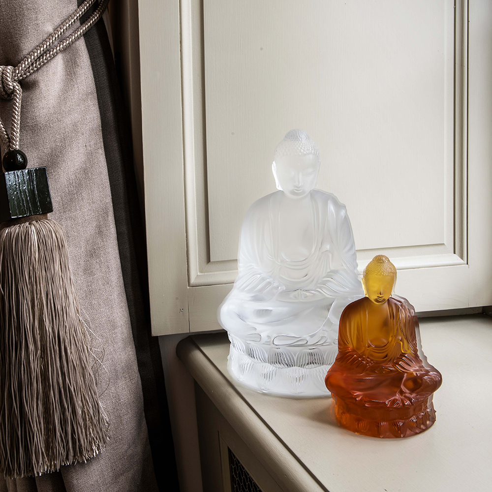 Tall Buddha sculpture | Numbered edition, clear crystal | Sculpture Lalique
