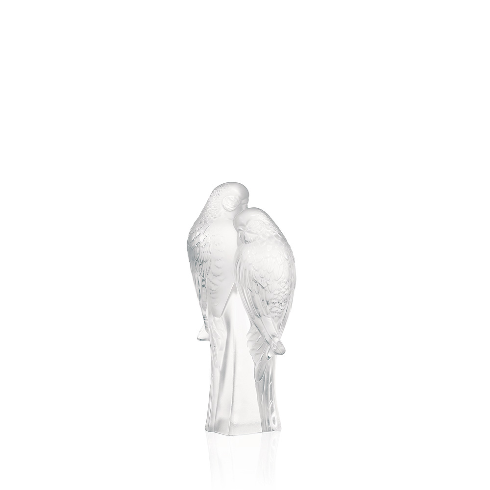 2 Parakeets sculpture | Clear crystal | Sculpture Lalique