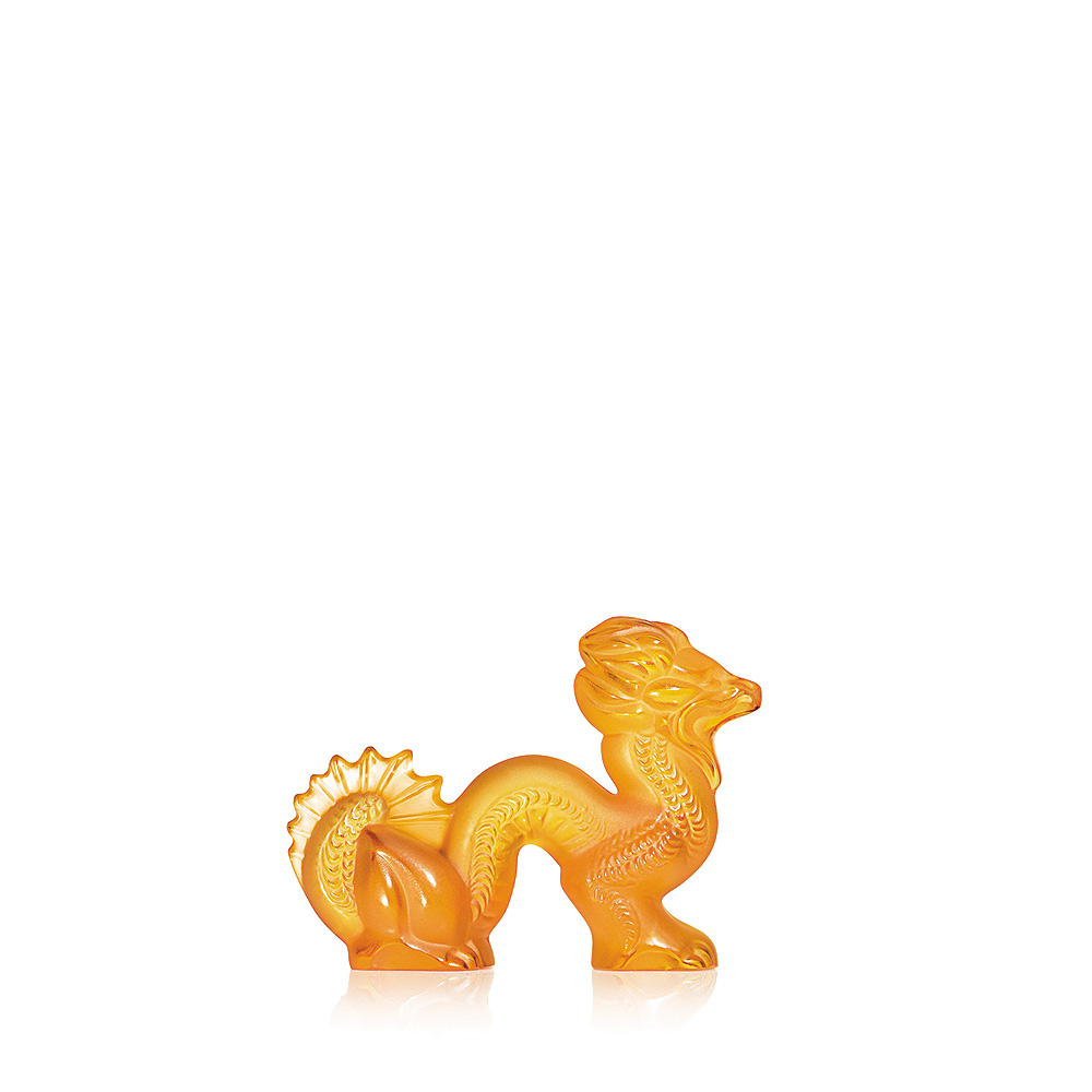 Dragon sculpture | Amber crystal, small size | Sculpture Lalique