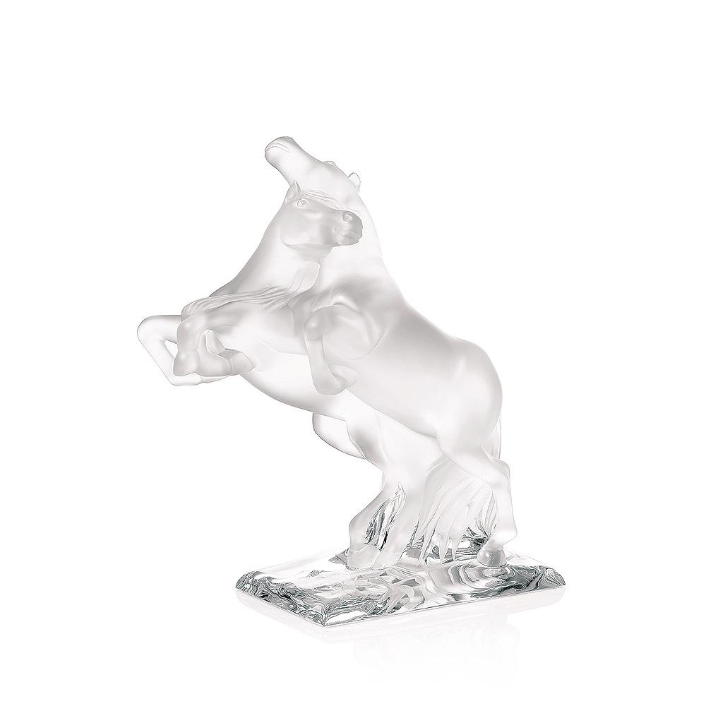 Sculpture 2 Chevaux Sauvages | Édition numérotée, cristal incolore | Sculpture Lalique