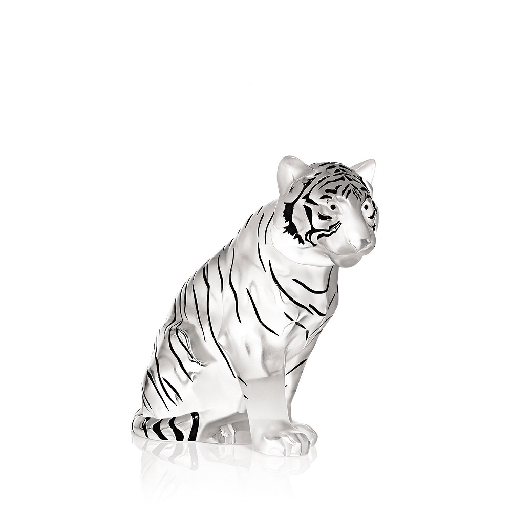 Sitting Tiger | Numbered edition, clear crystal black enamelled| Sculpture Lalique