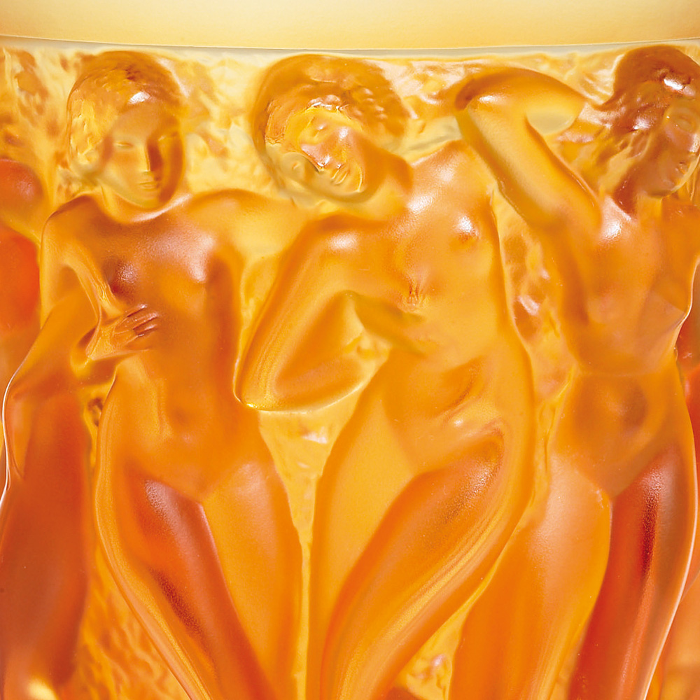 Bacchantes vase | Numbered edition, amber crystal | Vase Lalique