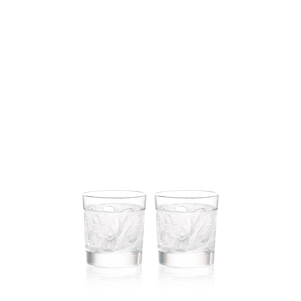 Set of 2 Owl Whisky tumblers | Owl collection, clear crystal | Glass Lalique