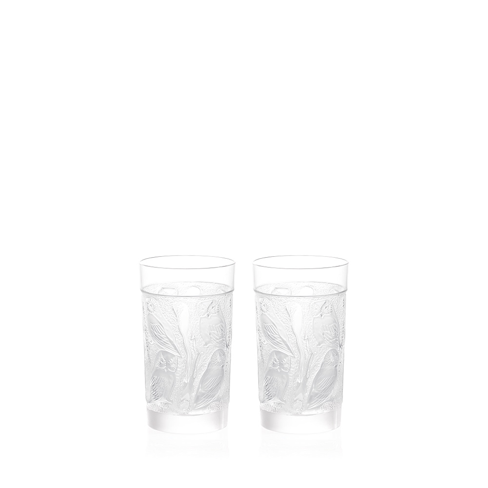 Set of 2 Owl Large Size Tumbler | Owl collection, clear crystal | Glass Lalique