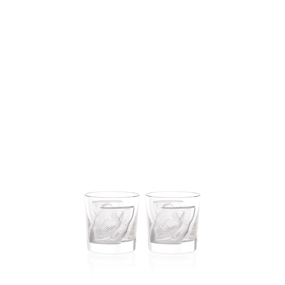 Set of 2 Owl cordial tumblers | Owl collection, clear crystal | Glass Lalique