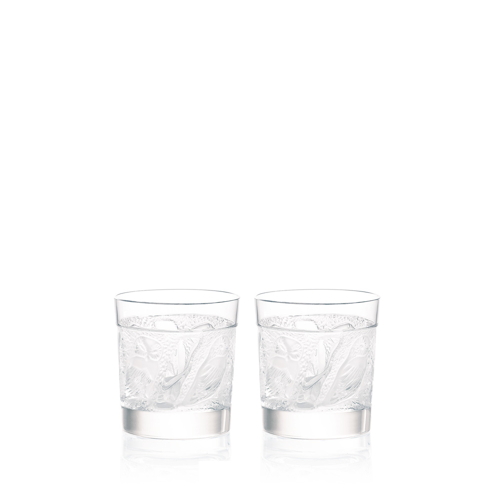 Set of 2 Owl Old Fashion tumblers | Owl collection, clear crystal | Glass Lalique