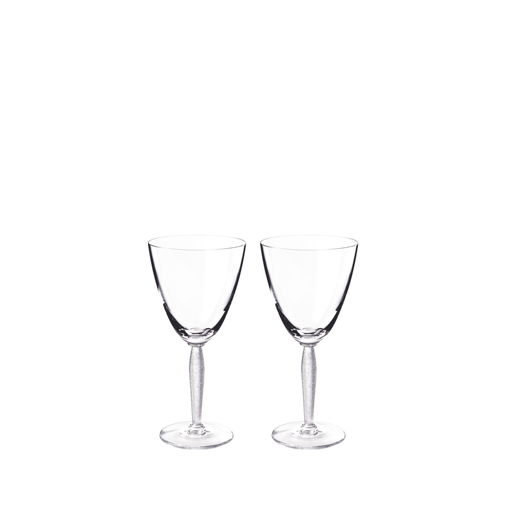 Set of 2 Louvre wine glasses | Louvre collection, clear crystal | Glass Lalique