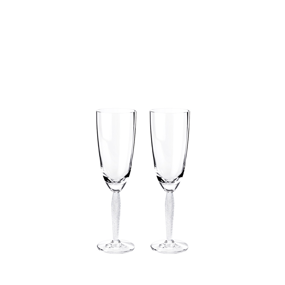 Set of 2 Louvre Champagne flutes | Louvre collection, clear crystal | Glass Lalique