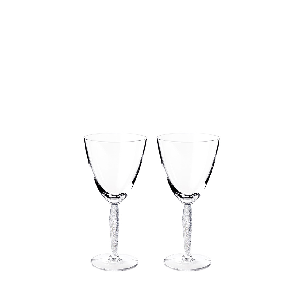 Set of 2 Louvre water glasses | Louvre collection, clear crystal | Glass Lalique