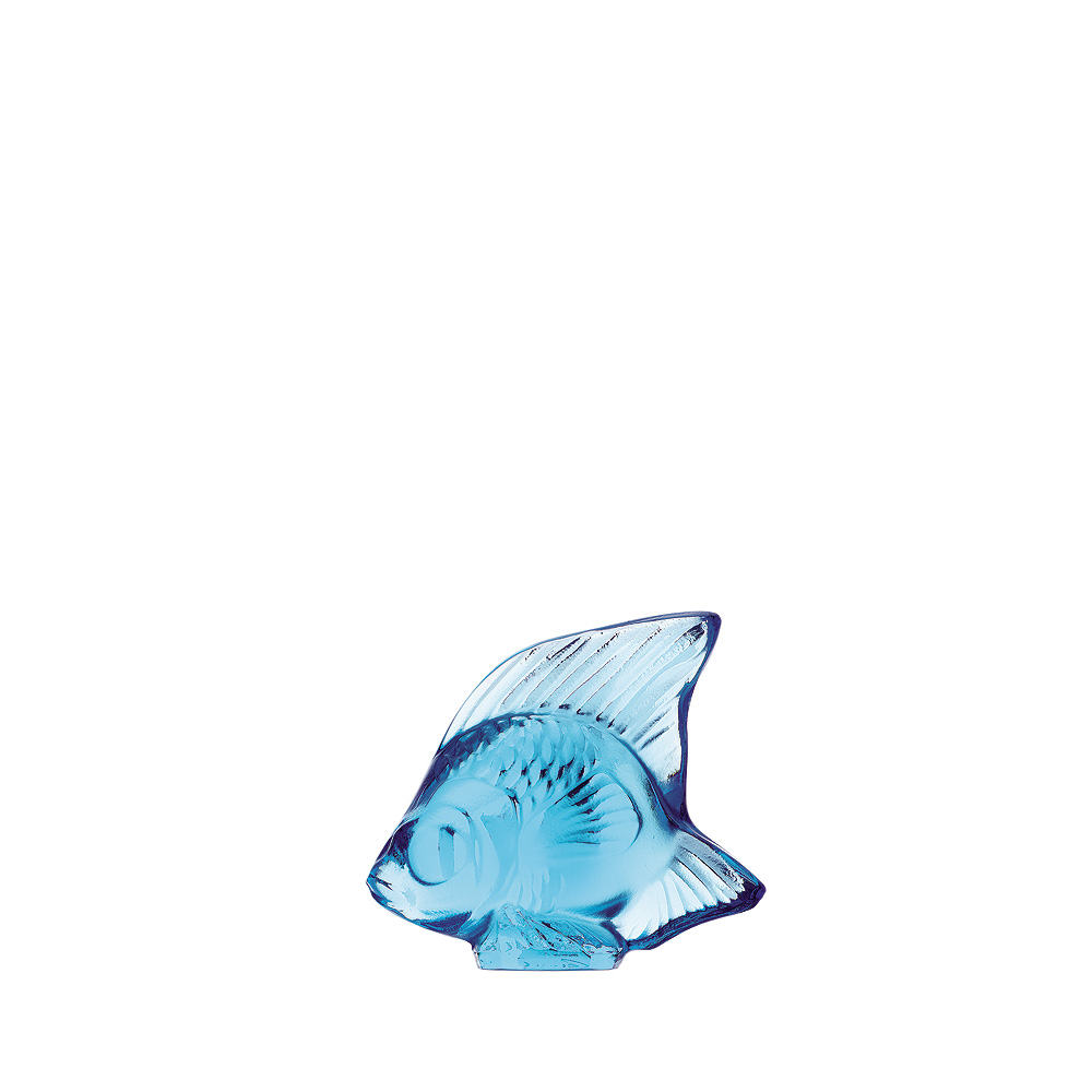 Fish sculpture | Pale blue crystal | Sculpture Lalique