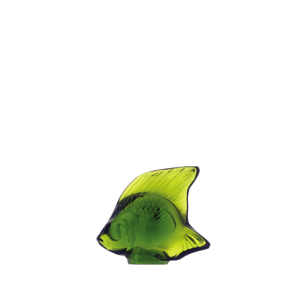 Fish sculpture | Lime green crystal | Sculpture Lalique