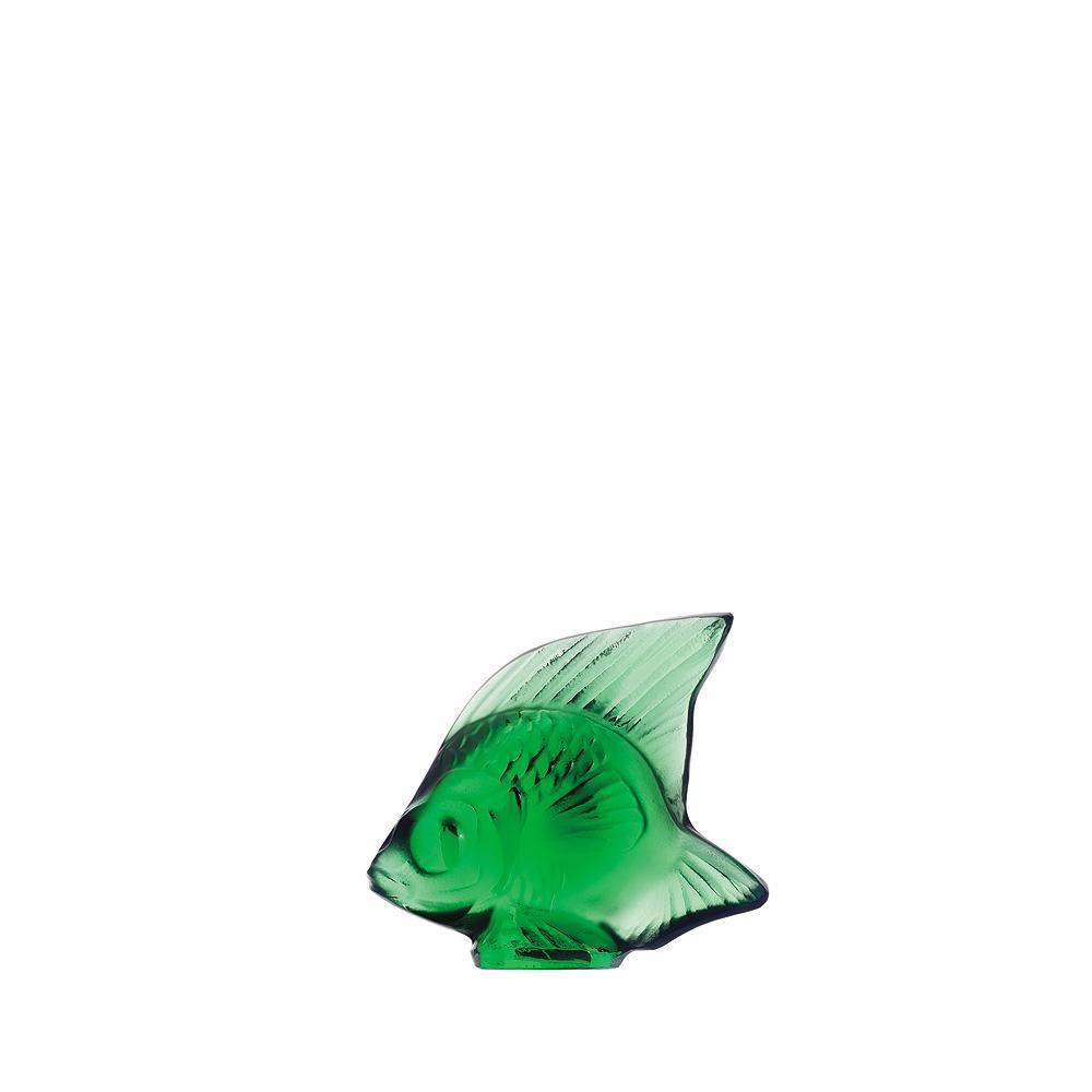 Sculpture Poisson | Cristal vert émeraude | Sculpture Lalique