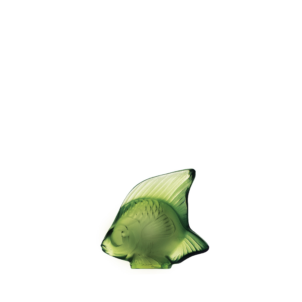 Fish sculpture | Antinea green crystal | Sculpture Lalique