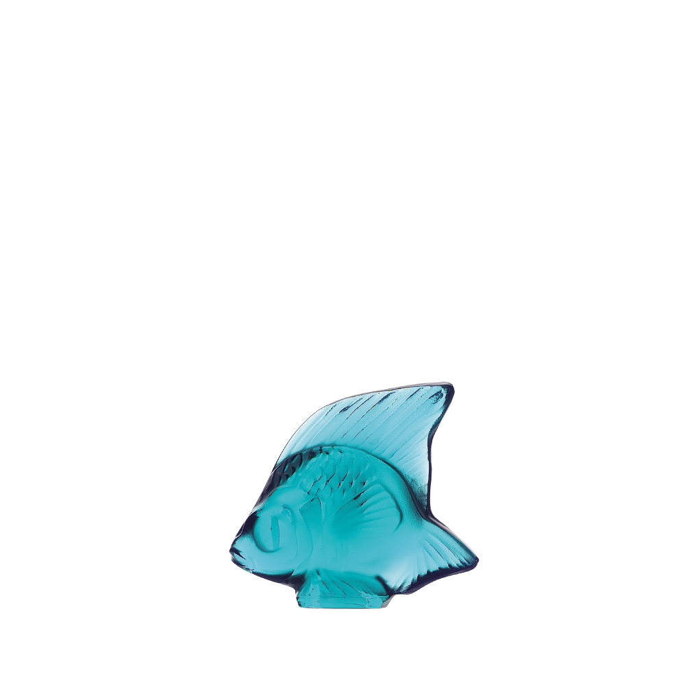 Fish sculpture | Pale turquoise crystal | Sculpture Lalique