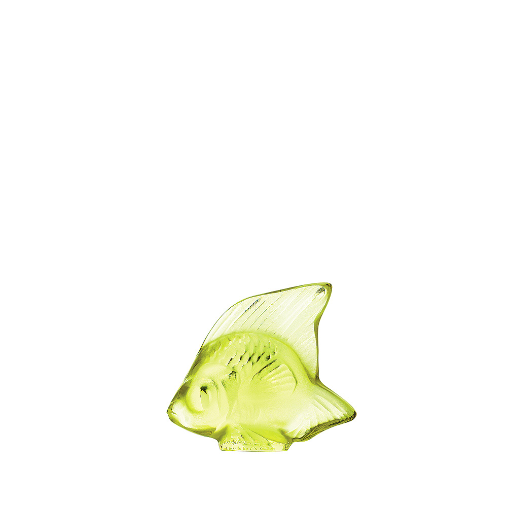 Fish sculpture | Anise green crystal | Sculpture Lalique