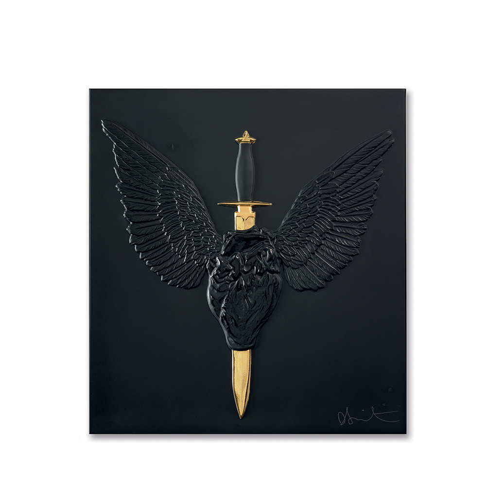 Eternal Prayer, crystal panel | Limited edition (50 pieces), black crystal and gold stamped | Eternal, Damien Hirst and Lalique