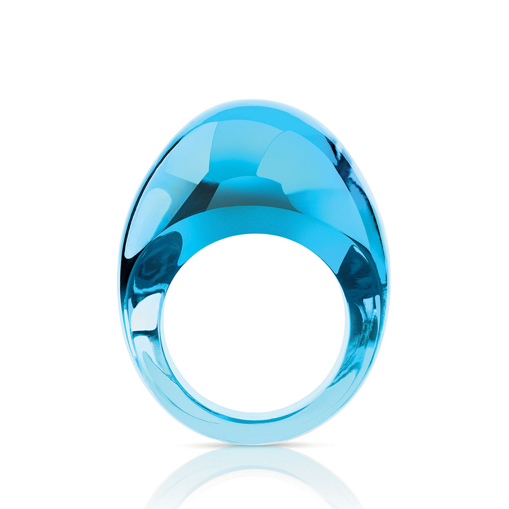 Cabochon ring | Light blue crystal | Costume jewellery Lalique