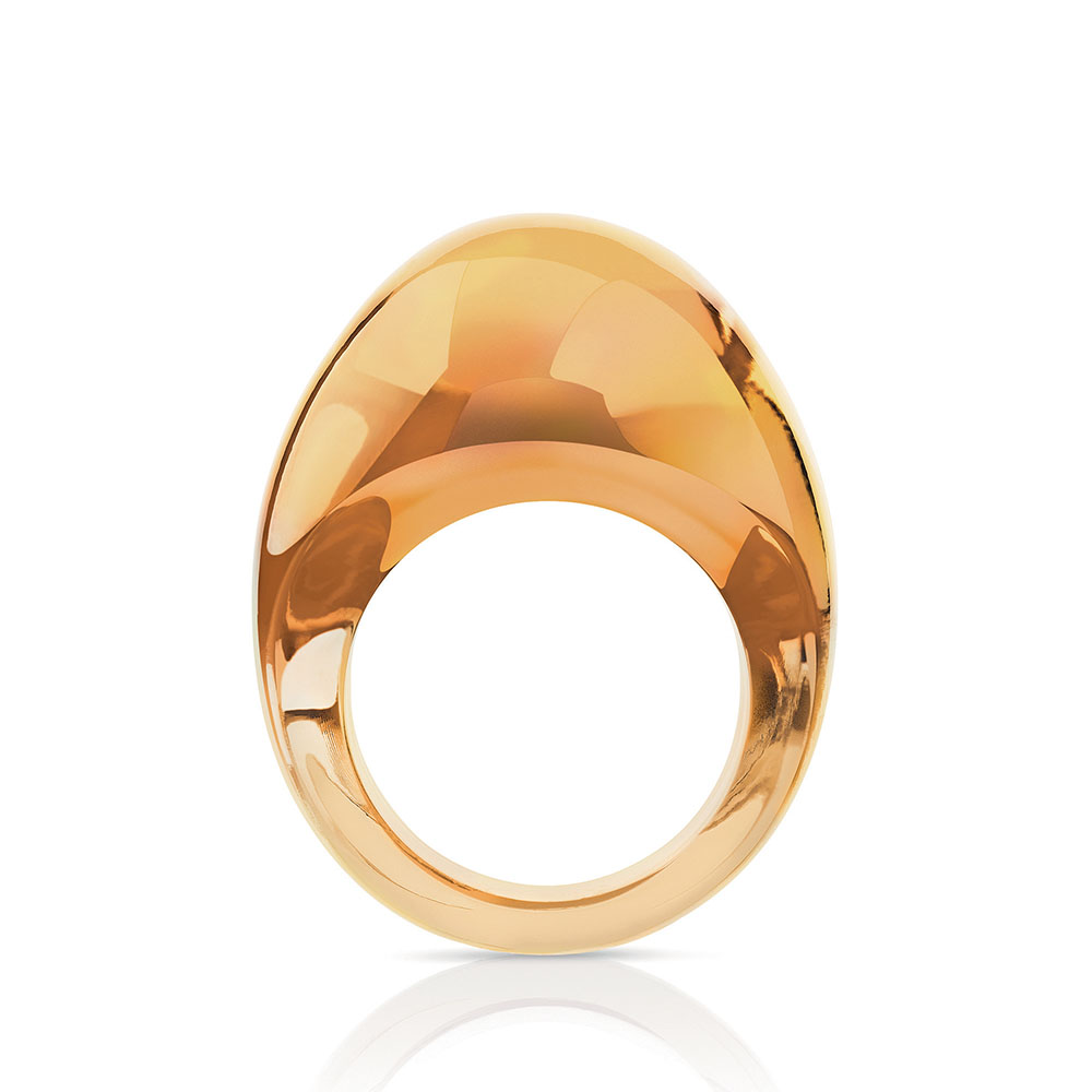 Cabochon ring | Amber crystal | Costume jewellery Lalique
