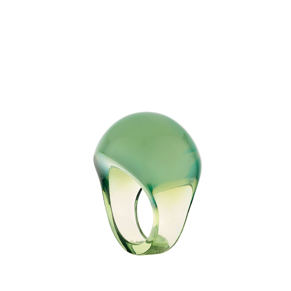 Cabochon ring | Antinea green crystal | Costume jewellery Lalique