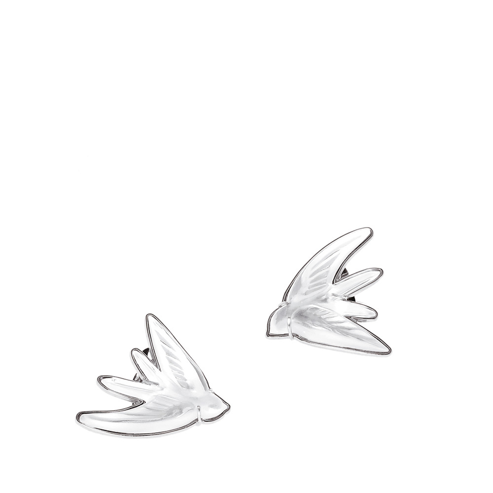 Hirondelles earrings | Clear crystal, silver | Costume jewellery Lalique