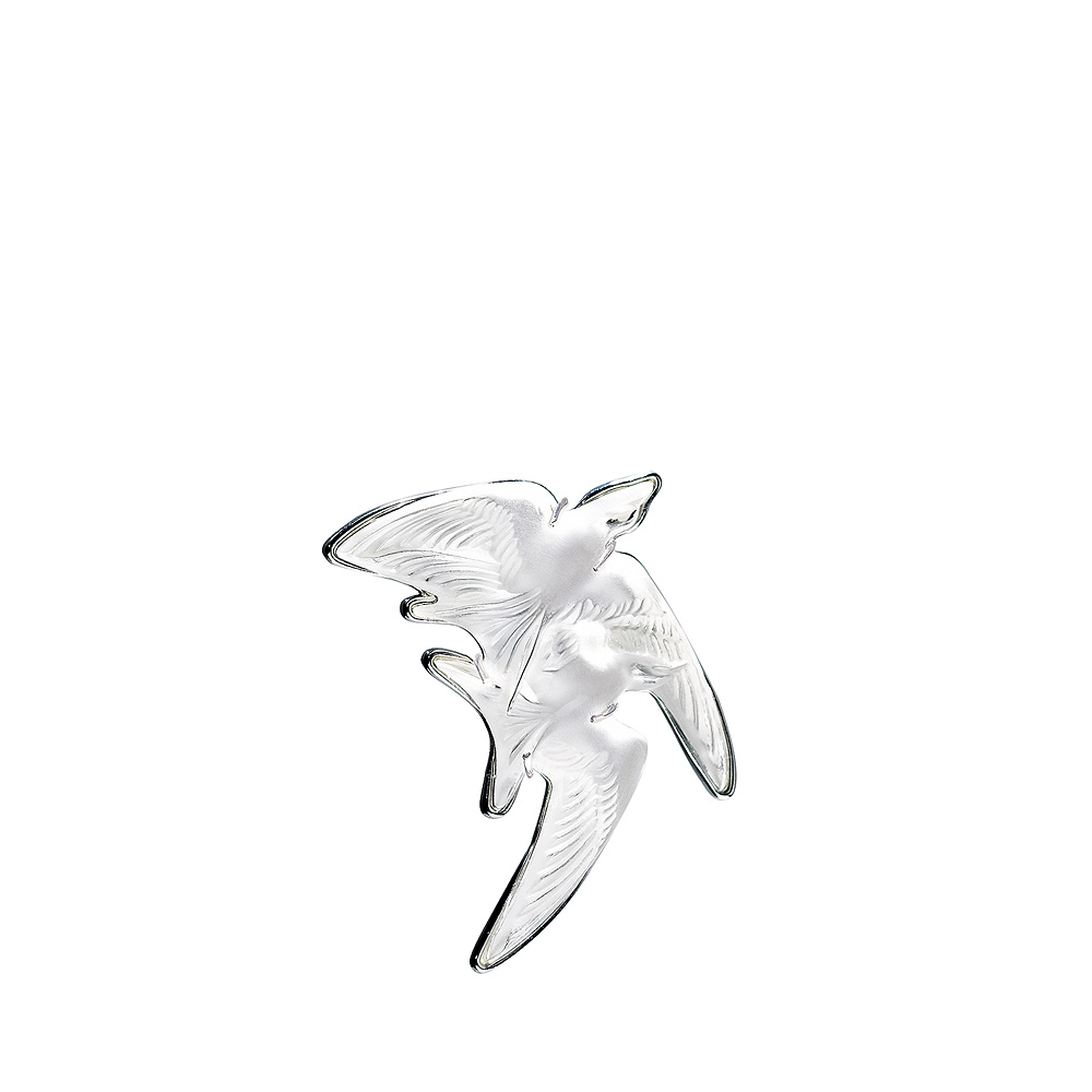 Hirondelles brooch | Clear crystal, silver | Costume jewellery Lalique