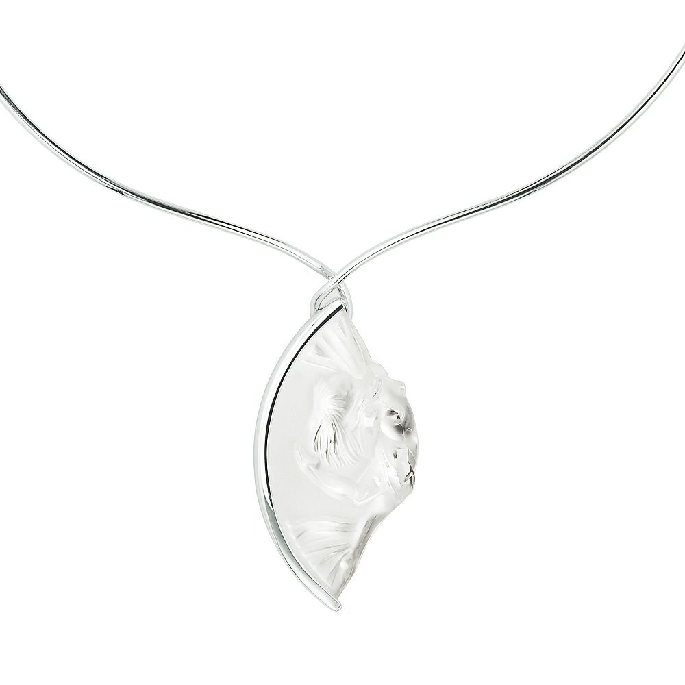 Holda necklace | Clear crystal, silver | Costume jewellery Lalique