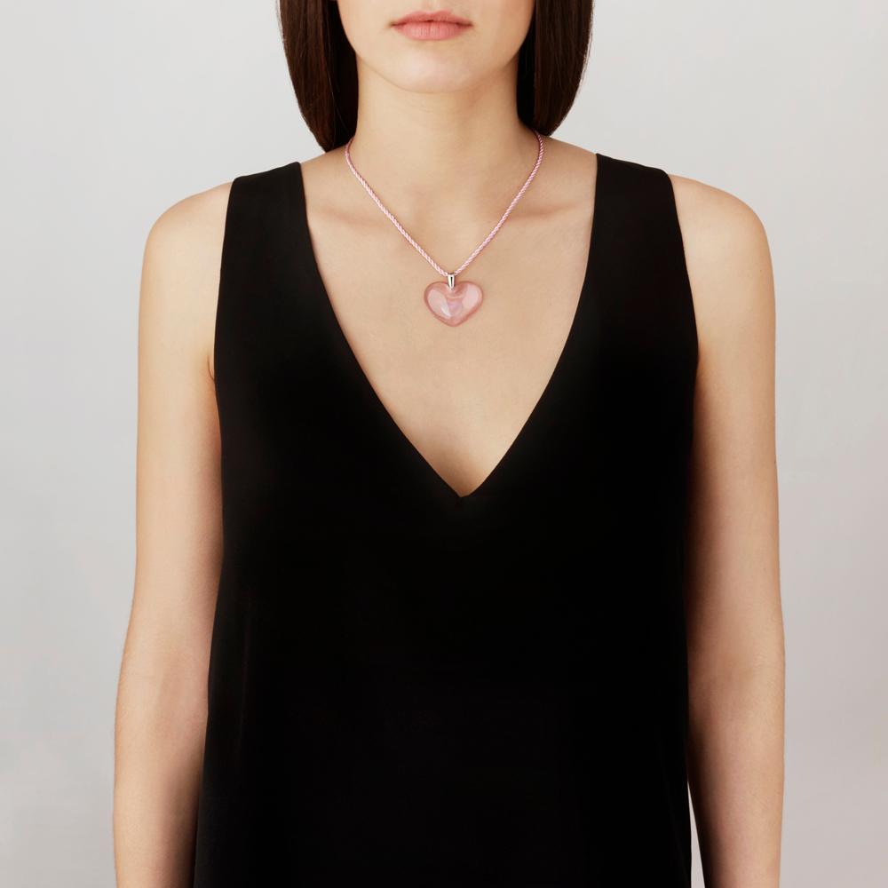 Amoureuse à la Folie pendant | Pink crystal, silver | Costume jewellery Lalique