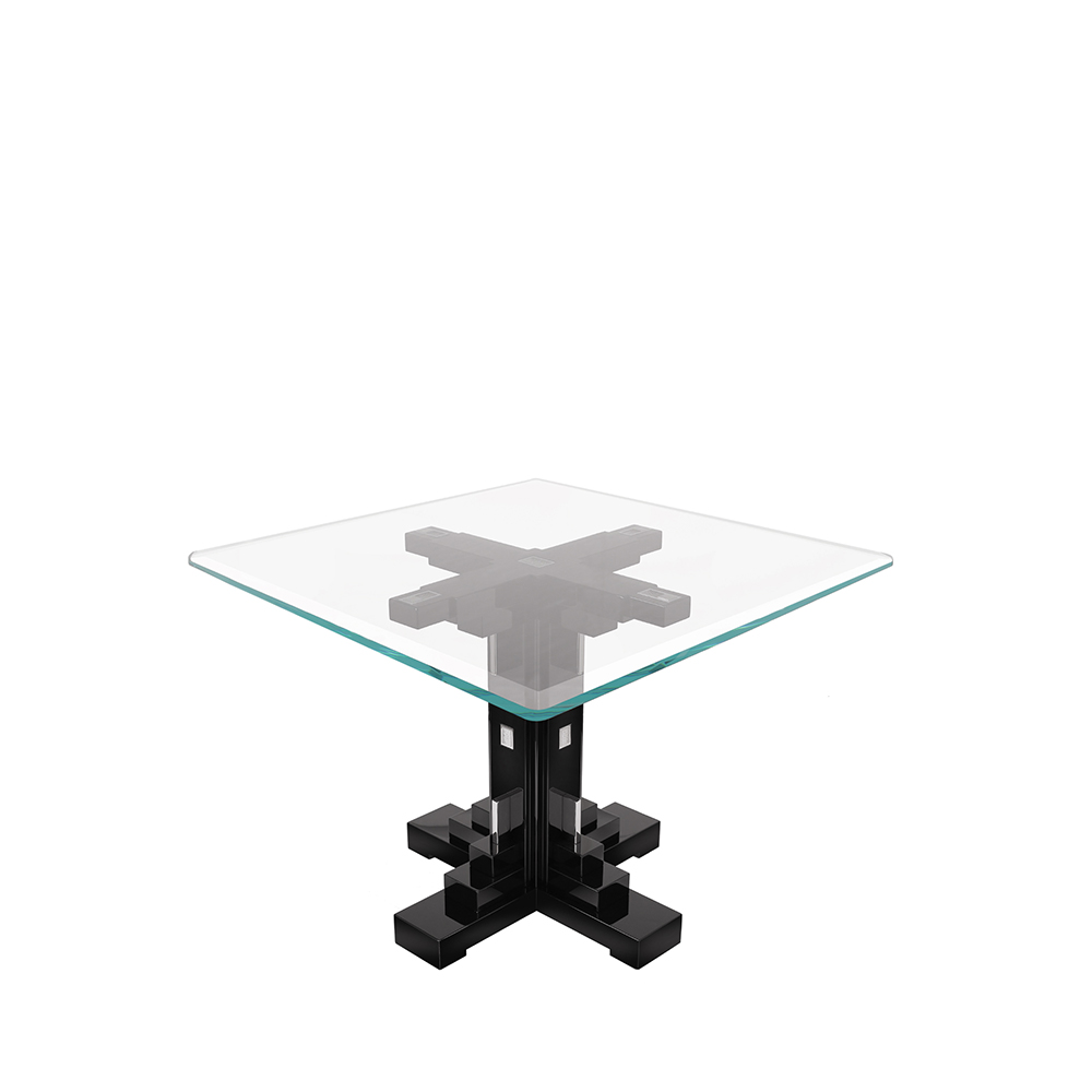 Raisins square table | Numbered edition, clear crystal and black lacquered | Table Lalique