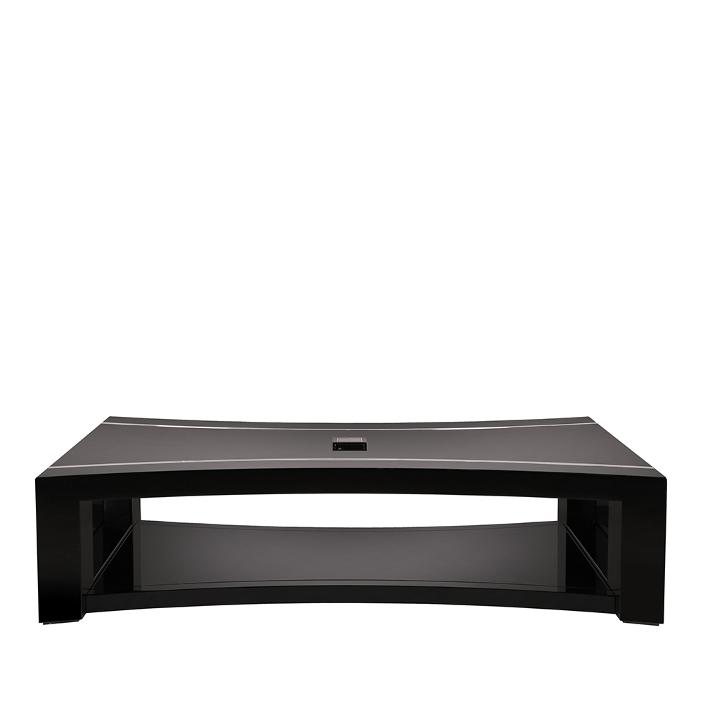 raisins curved coffee table | numbered edition, clear crystal, black Curved Coffee Table