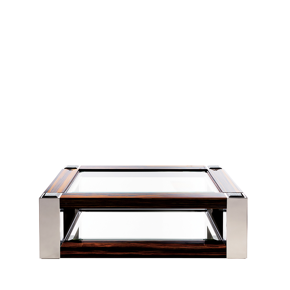 Raisins coffee table | Numbered edition, clear crystal, natural ebony and polished steel, small size | Coffee table Lalique