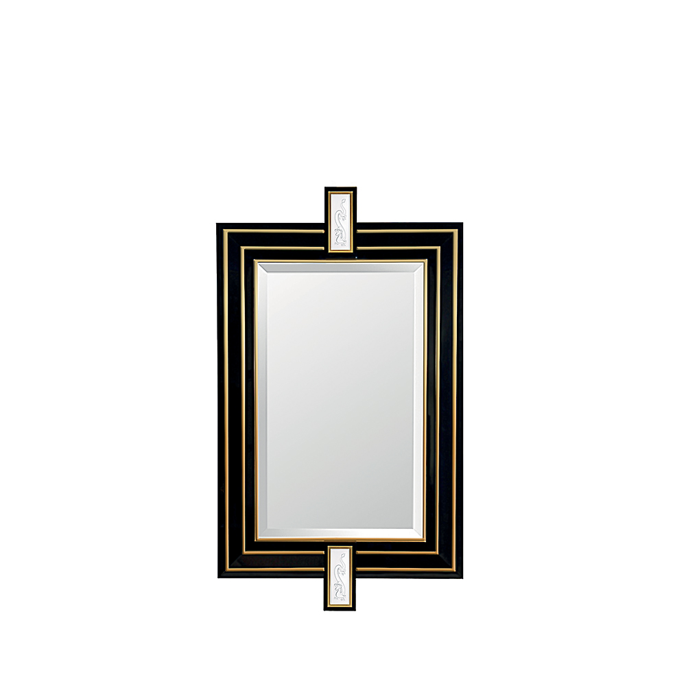 Tianlong mirror | Clear crystal, black lacquered and inox golden satin steel | Mirror Lalique