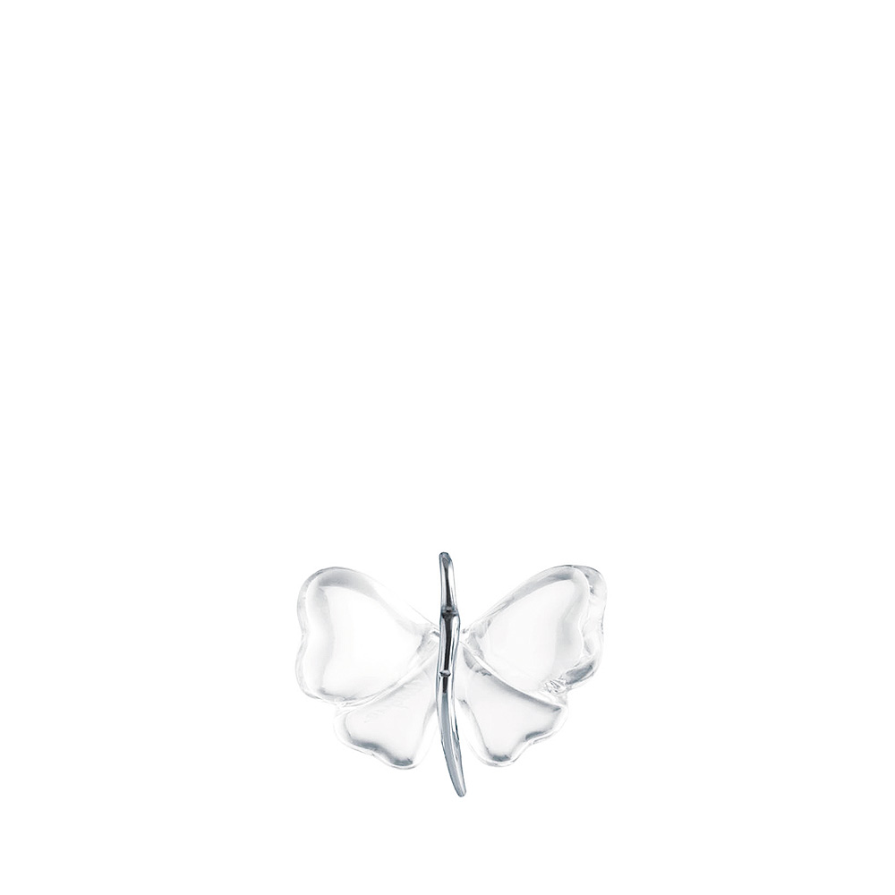 Papillon pendant | Clear crystal, silver | Costume jewellery Lalique