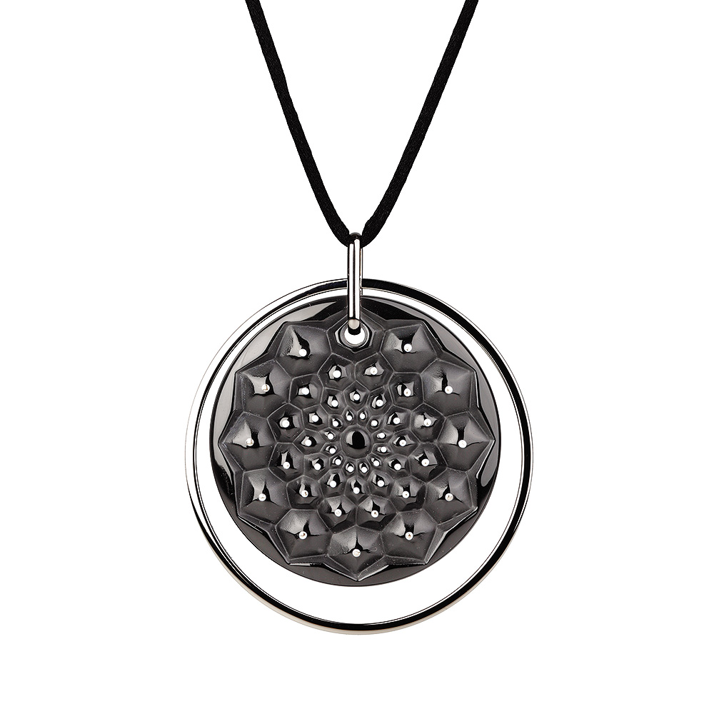 Cactus medal pendant | Black crystal, silver | Costume jewellery Lalique