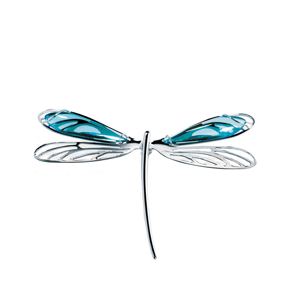 Libellule brooch | Light blue crystal, silver | Costume jewellery Lalique