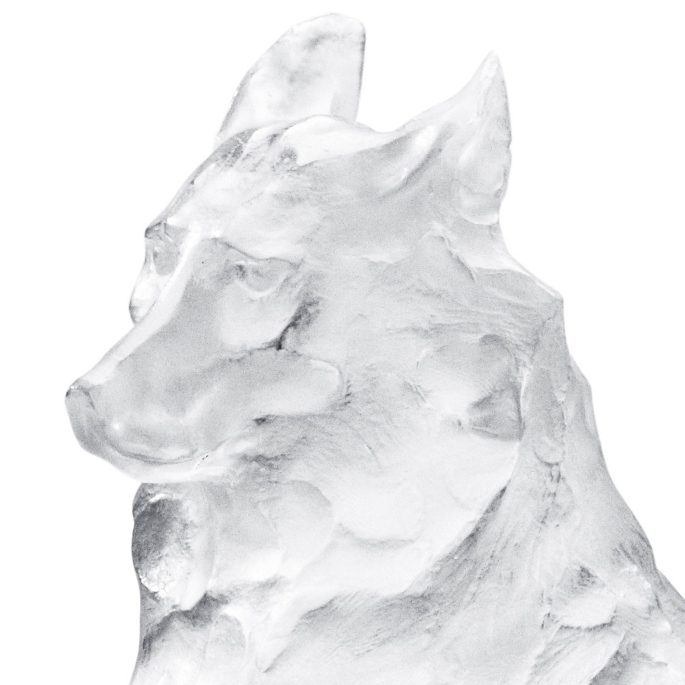 Reclining Egyptian wolf sculpture   Limited edition (8 pieces), clear crystal   Rembrandt Bugatti by Lalique