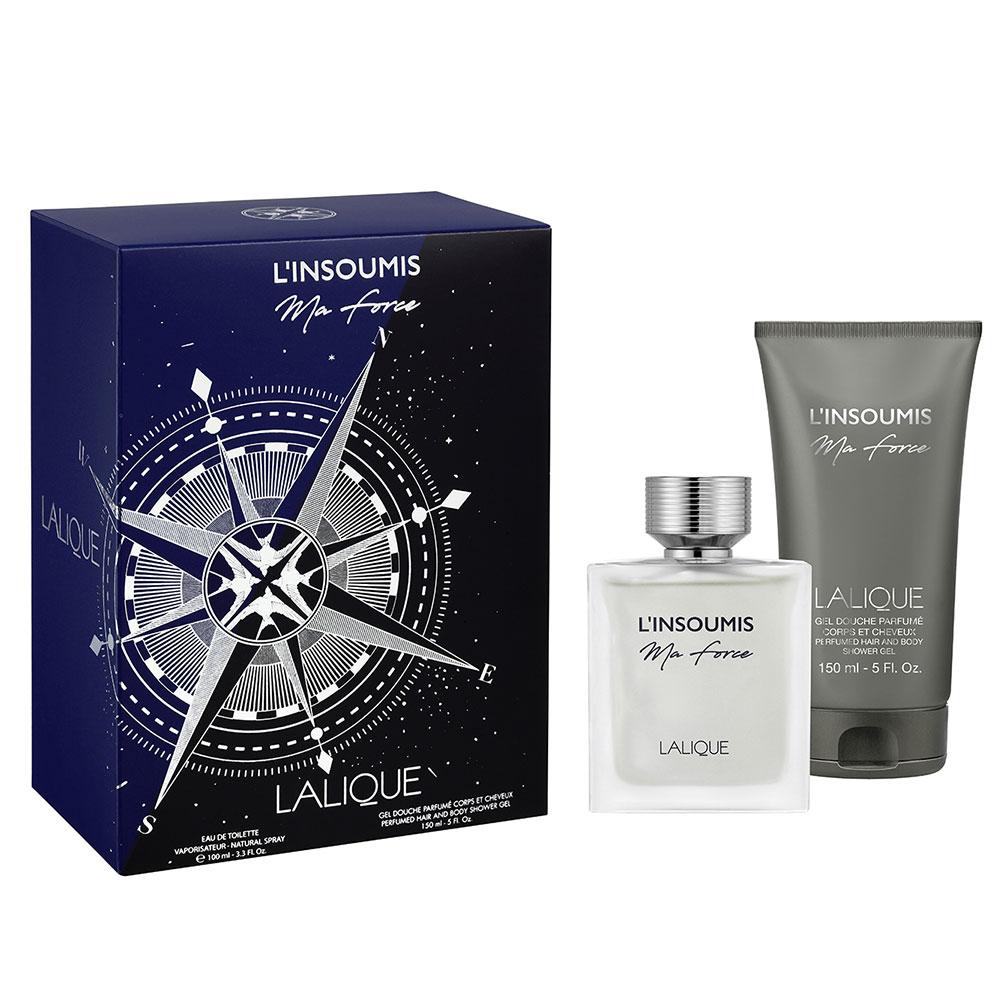 L'INSOUMIS MA FORCE Gift Set | 100 ml (3.3 Fl. Oz.) Natural Spray Eau de Toilette and 150 ml (5 Fl. Oz.) Perfumed Hair and Body Shower Gel | Lalique Parfums