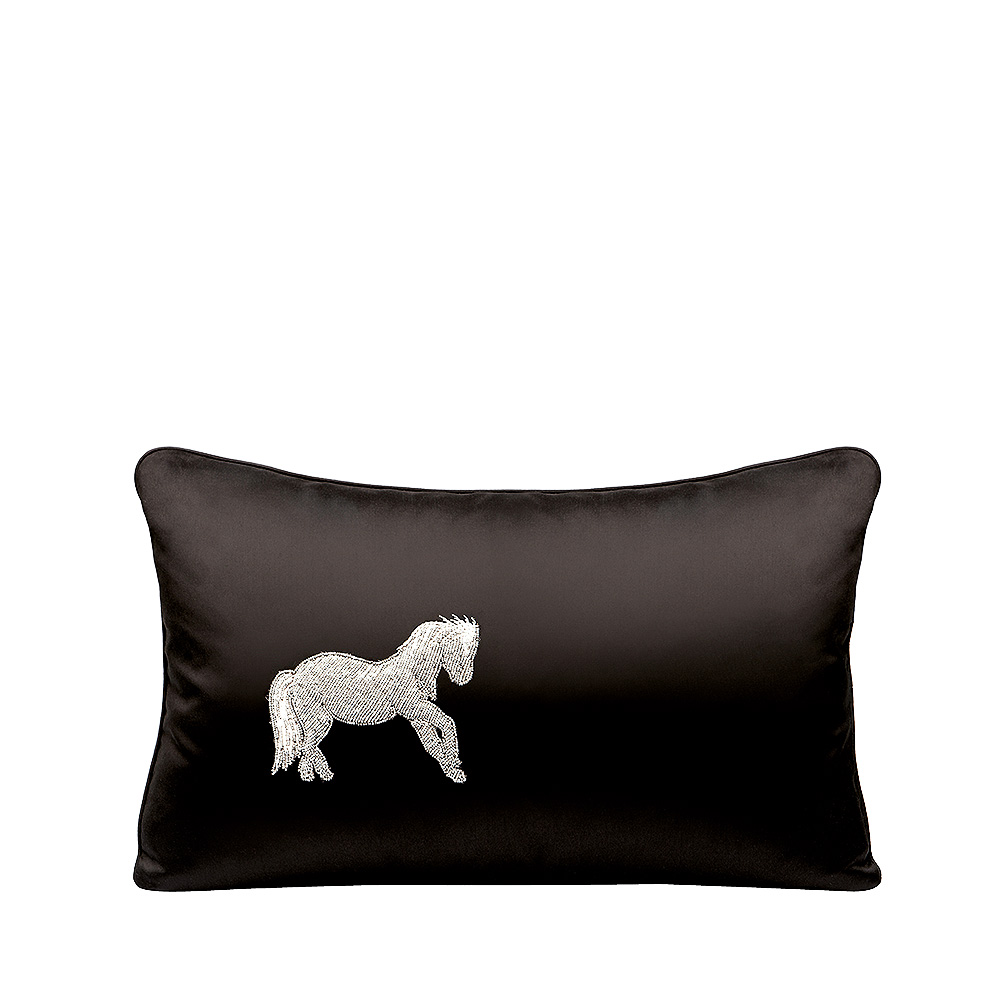 Cheval Debout beaded cushion | Black silk, glass beads, small size | Interior Design Lalique