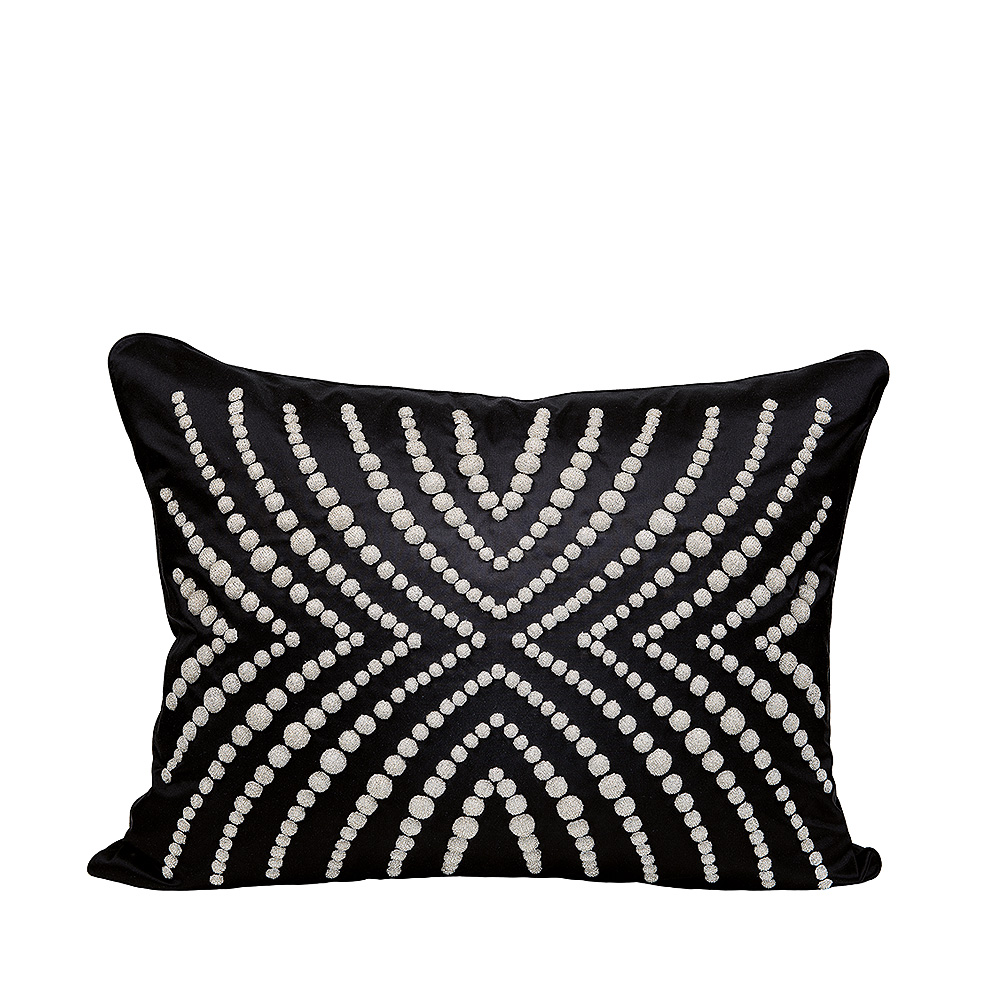 Coutard beaded cushion | Silk, glass beads, large size | Interior Design Lalique