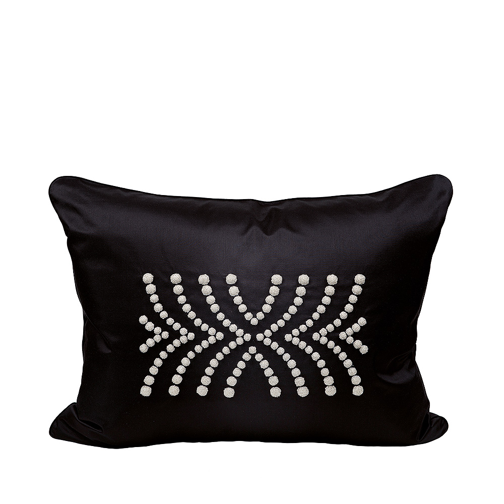 Demi Coutard beaded cushion | Ivory silk, black glass beads, large size | Interior Design Lalique